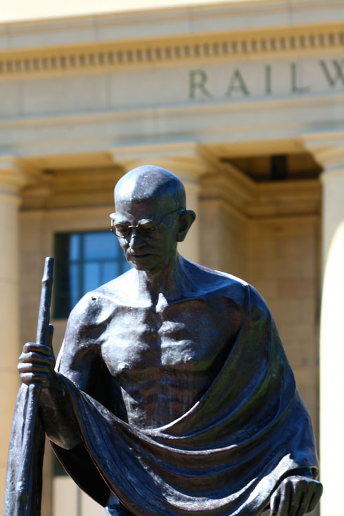 Statue of Gandhi, outside Wellington Railway Station